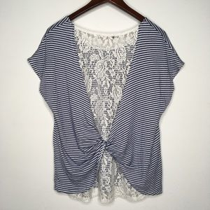 Papermoon Blue & White Striped Lace Twist Back Top